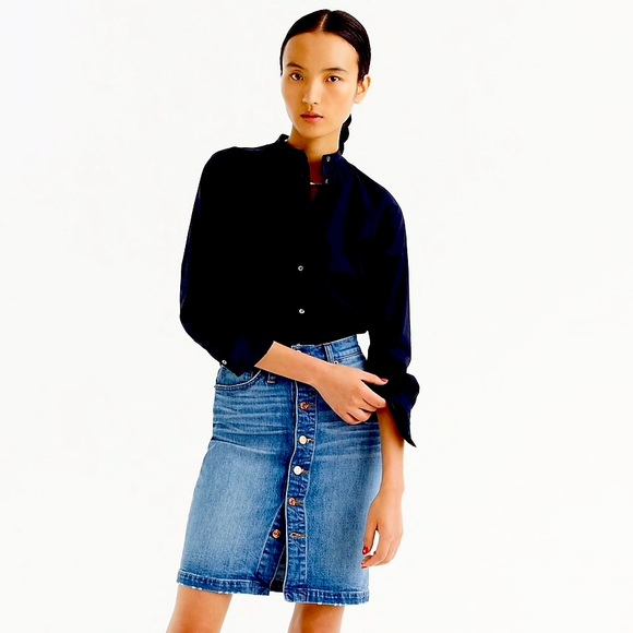 J Crew stretch denim skirt with button front 23